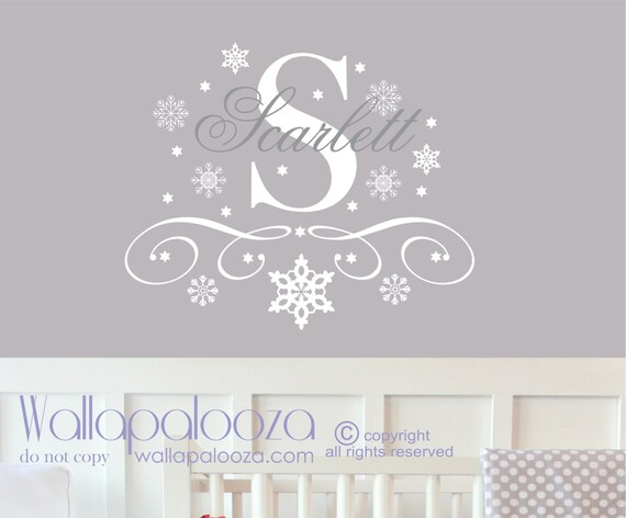snowflake wall decal snowflake name wall decal snowflake. Black Bedroom Furniture Sets. Home Design Ideas