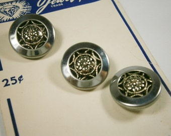 3 Silver Filigree Twinkle Buttons on Store Card, Mirror Back Buttons, Set of Three Metal Buttons