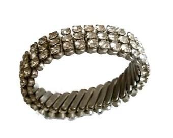 Vintage Rhinestone Expandable Bracelet, Wide Bracelet, Three Rows of Clear Rhinestones