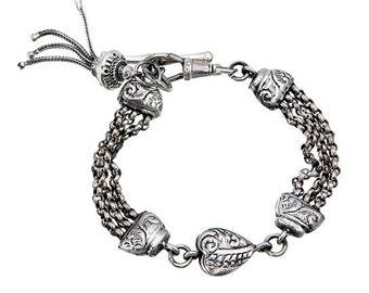 Heavy victorian style love heart albertina bracelet watch chain tassel chain t bar 925 sterling silver