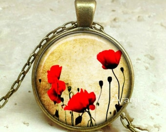 Red poppy necklace, red poppy pendant, poppy necklace, poppy pendant, Pendant #PL116BR