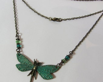 Wings ~ Green Dragonfly ~ Antique Brass Necklace