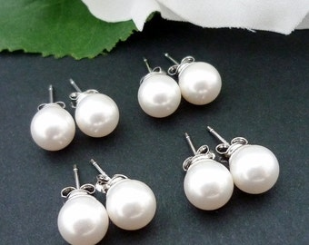 SALE 10% OFF SET Of 3 Bridesmaid Gift Wedding Jewelry Bridal Jewelry Ivory White Or Cream Swarovski Pearl Stud Earrings 925 Sterling Silver