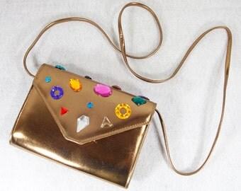 Vintage 80's Bronze Colorful Jeweled Shoulder Purse