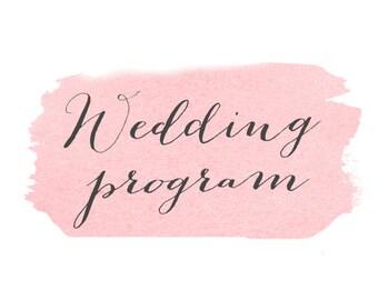 Custom Matching Wedding Program