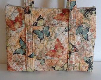 Butterflies Tan Cream Blue Yellow Peach Quilted Purse Quilted Handbag