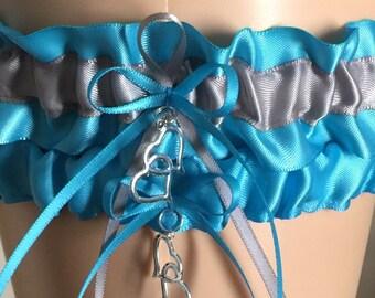 Turquoise and Silver Wedding Garter Set, Bridal Garter Sets, Prom Garter, Keepsake Garter, Weddings