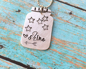 Shine necklace, Mason jar necklace, engagement necklace, wedding necklace, anniversary necklace, mason jar and arrow necklace