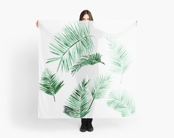 Palm Leaf Scarf, square palm scarf, palm leaf scarf, palm leaves scarf, tropical scarf, minimal scarf, modern scarf, summer scarf