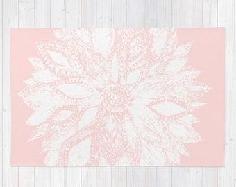 Blush Pink Flower Area Rug, Blush Pink Rug, Light Pink Rug, Pink Floral