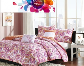 Ethnic Batik Paisley Pink Muticolor Printed Full/Queen 5 Piece Coverlet Set