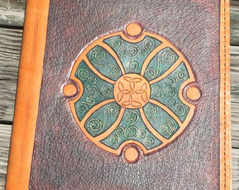 Leather Binder / Hand Tooled in Antiqued Brown and Green - ARDAGH