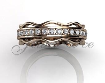 Eternity Wedding Band - 14k Rose Gold Diamond Eternity Wedding Band LB-2036-3