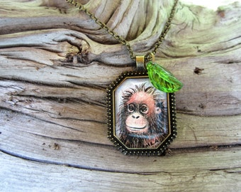 Tiny original Orangutan painting necklace One of a kind art