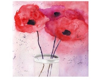 Watercolor Flowers, Original Watercolor, Abstract Flower Painting, Red Poppies, Minimalist Flower Painting, Red Flowers, Floral Still Life