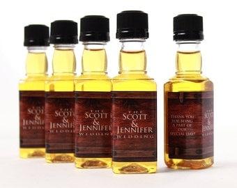 Rustic Wedding Favors, 15 Personalized Mini Bottles, 50 ml