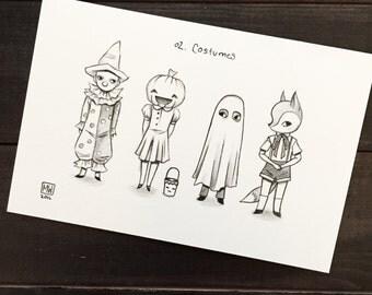 Original pencil and ink drawing, Drawlloween #2 - costumes, Halloween art, trick or treaters, pumpkin, clown, ghost, fox, creepy cute art