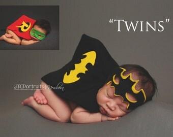 Batman & Robin Twins Newborn Superhero Costumes Boys, Photography Prop, DC Comics, Newborn Superhero Set, Superheroes for Twin Boys, Comics