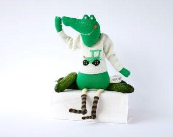 Crocodile Plush Toy, Handmade Fabric Doll, For Kids