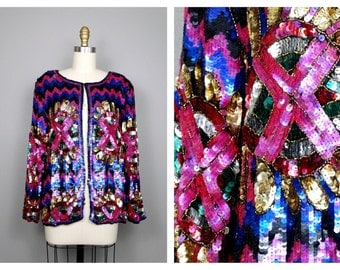 80's Art Deco Sequined Blazer by Joseph Le Bon // Bright Embellished Beaded Evening Jacket
