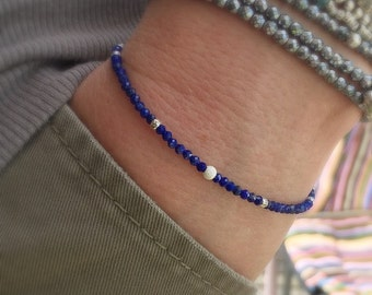 Handmade bracelet with semiprecious lapis lazuli faceted and thai silver and sterling silver beads