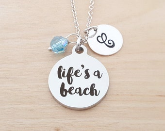Life's A Beach Necklace - Personalized Initial Necklace - Sterling Silver Necklace - Swarovski Birthstone Jewelry - Gift For Her
