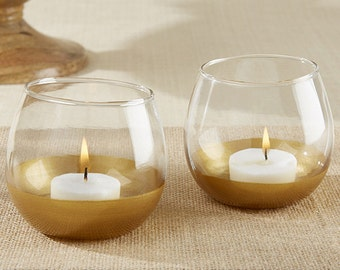24 -  Gold Dipped Glass Votive Holder