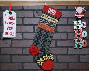 Personalized Argyle Christmas Stocking Hand Knit in Red, Fair Isle Knit Stocking with Pink Ivy and Yellow Snowflakes, Housewarming Gift