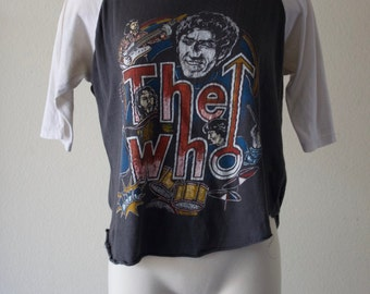 Vintage 1980s Rock n Roll The Who Trendy Mid Sleeve T-Shirt