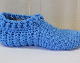 Blue Slippers Crochet Slippers, Adult Crochet Booties, Bed Socks, Men's Slippers, Women's House Shoes, Washable Indoor Socks, Vegan Slippers