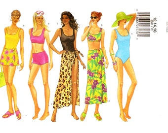 Butterick 5551 Misses' Swimsuits, Bikinis and Cover Ups Sewing Pattern