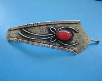 Vintage Arts & Craft Style Silvertone Metal and Faux Coral Hair Clip/Slide/Barrette - Arts and Craft/Art Nouveau/Morris/Ruskin