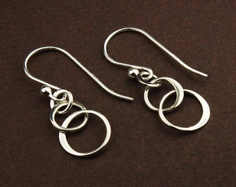 Sterling silver three ring drop earrings sterling silver earrings 3 circle linked circle hoop earrings intertwined rings entwined circles