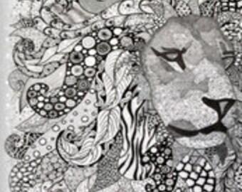 """Lion zen BW 18"""" x 21"""""""