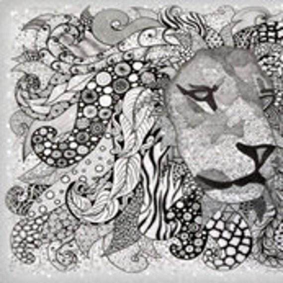 """Lion FQ BW 18"""" x 21"""""""