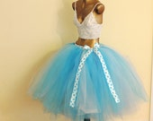 Sale Item tulle skirt glitter tutu blue turquoise neon blue tea length tutu polka dot tutu adult tutu skirt photo prop sweet 16 photo