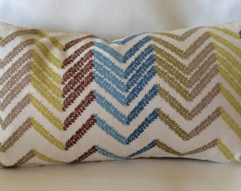 Pair of Unique Kidney Pillow Covers-Colorful Zig-zag Design-12 x 21 inch-Free Shipping
