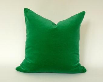 kelly green velvet pillow case // pea green velvet cushion // green velvet pillow