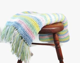 Vintage Crochet Afghan Large Pastel Baby Afghan