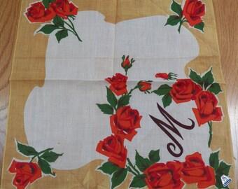 Beautiful Vintage Hanky Monogram Inital M Roses Floral Red Herrmann Tag