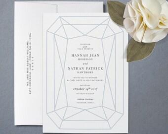 Geometric Wedding Invitation - Modern Wedding Invitations - 100% Luxe Cotton Paper