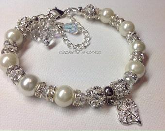 Ivory Pearl  Bridal Bracelet .