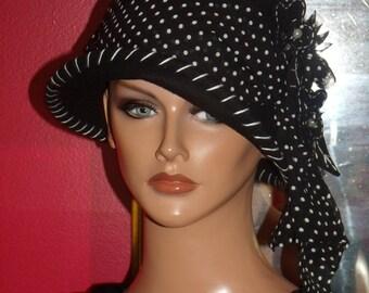 1920's Theme Flapper Hat Black Wool100% Gatsby Antique style Hat