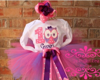 Pink and Purple Owl Birthday Tutu Set