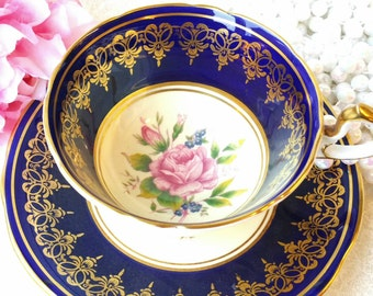 AYNSLEY Vintage Corset Bone China Tea Cup and Saucer/Dark Blue with pink roses/ Collectable / Vintage Tea Party/Blue/Cabinet Cup