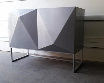 BUILT TO ORDER // Diamond Door Credenza with Metallic Lacquered Finish