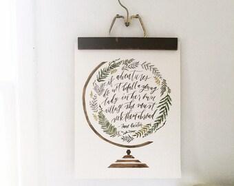 Watercolor painting, watercolor print, Jane Austen quote, art print, adventure art