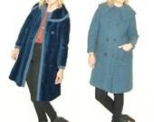 50s Reversible Jacket / Reversible coat / wool coat /  tweed coat / tweed jacket / Audrey Hepburn / Large collar jacket
