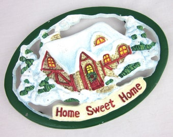 Vintage Home Sweet Home Trivet, Cast Iron, Winter Scene