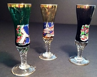3 Beautifully Hand-Painted Glass Cordials from Italy